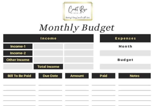 Monthly Budgeting Planner